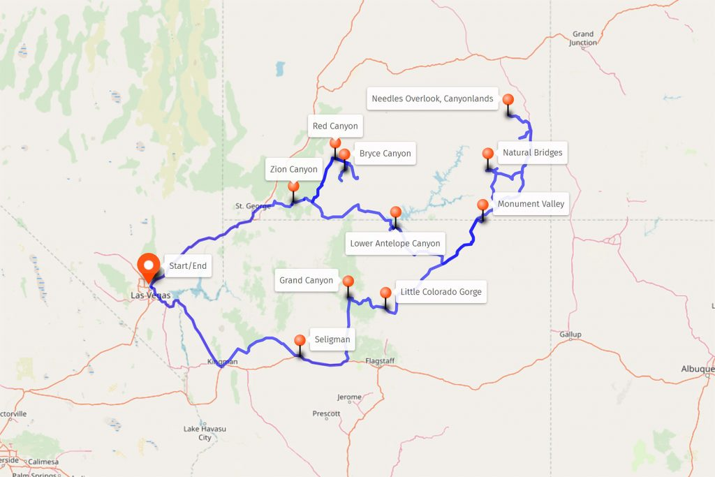 Route map for Southwest Canyons – full route.